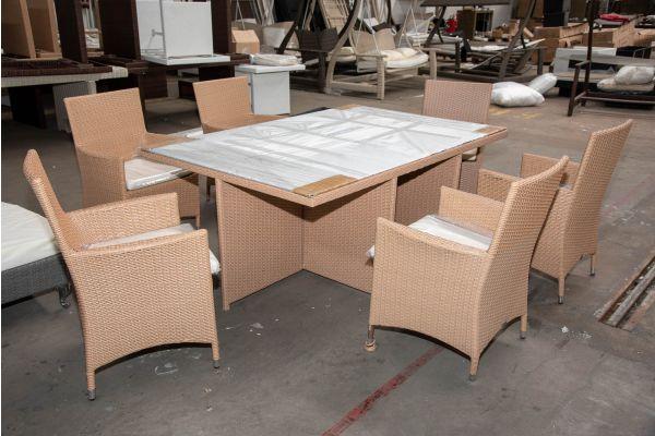 #HBM 2607: 6er Set Stuhl Julia mit Tisch Maui-sand