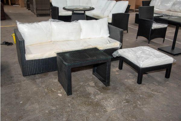 #HBM 2655: 3er Sofa Genero mit Kaffeetisch Casablanca und Hocker Fiji-schwarz