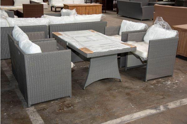 #HBM 2615: 4er Set Sessel Maui mit Tisch Sorano-grau