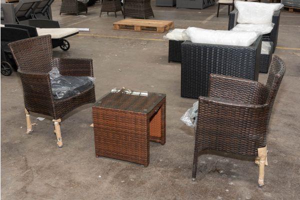 #HBM 2705: 2er Set Stuhl Estelle mit Beistelltisch Casablanca-braun-meliert