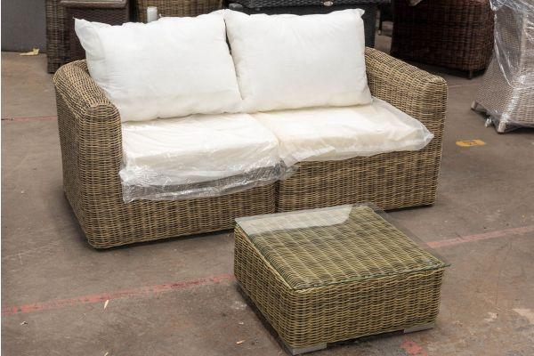 #HBM 2687: 2er Sofa bestehend aus 2 Seitenelementen Marbella mit Beistelltisch Ariano 5mm-natura