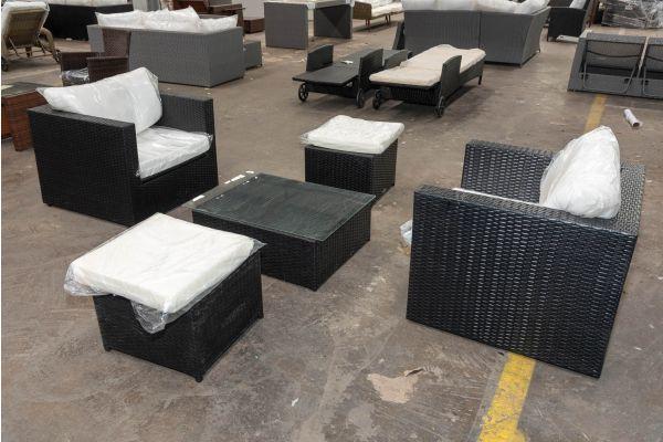#HBM 2690: 2er Set Sessel Tibera mit 2 Hockern Maui und Tisch 76x62x27-schwarz