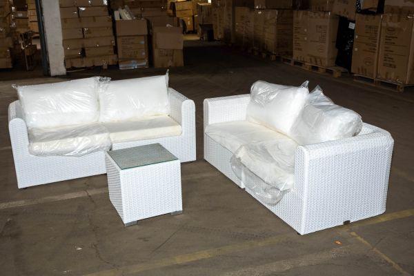 #PARAD 1: 2x 2er Sofa bestehend aus Seitenelementen Paradiso mit Beistelltisch Barcelona-weiß