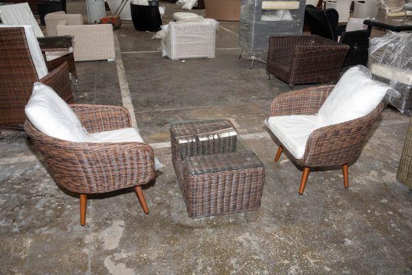 #HBM 2738: 2er Set Sessel Ameland mit Tisch Moss 5mm-braun-meliert