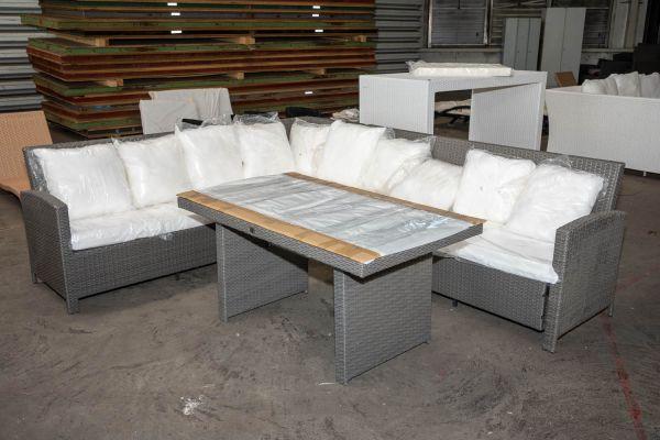 #HBM 2758: Garnitur Vicenta mit Tisch Fisolo-grau