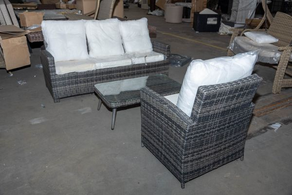 #HBM 2773: 3er Sofa und Sessel Fisolo mit Tisch Trosa-grau-meliert