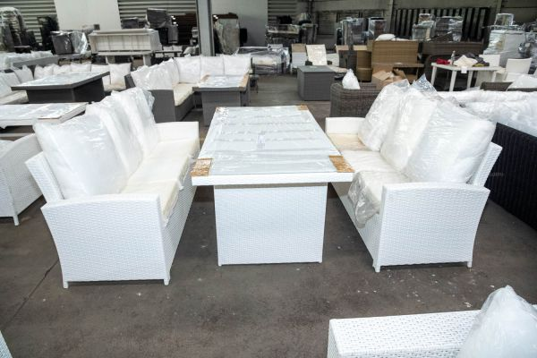 #HBM 2846: 2x Sofa Fisolo + Tisch Avignon 180-weiß