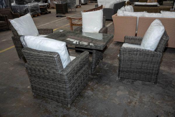 #HBM 2888: 4x Sessel Fisolo + Tisch Sorano-grau-meliert