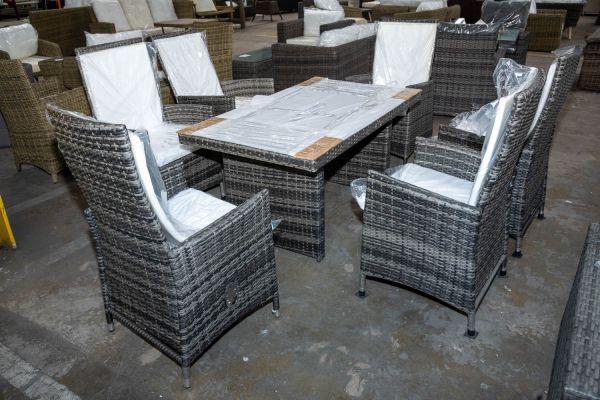 #HBM 2892: 6x Stuhl Sevilla + Tisch Fisolo-grau-meliert
