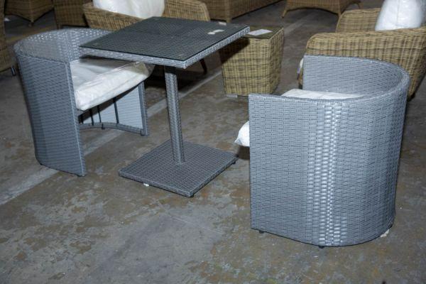 #HBM 2898: 2x Sessel Bayamo + Tisch Palermo-grau