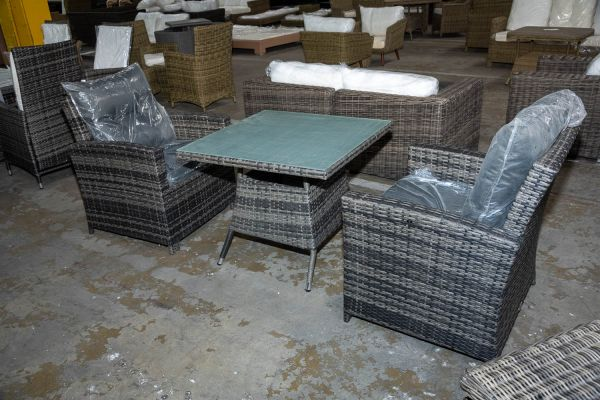 #HBM 2902: 2x Sessel Fisolo + Tisch Sierra-grau-meliert-anthrazit