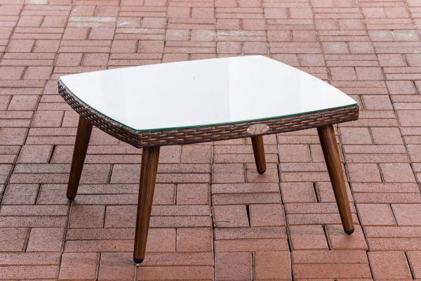 Tisch Ameland Flachrattan 30 cm braun-meliert