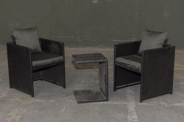 #HBM Garnitur 39: 2er Set Stuhl Maui mit Beistelltisch Parma-schwarz-anthrazit
