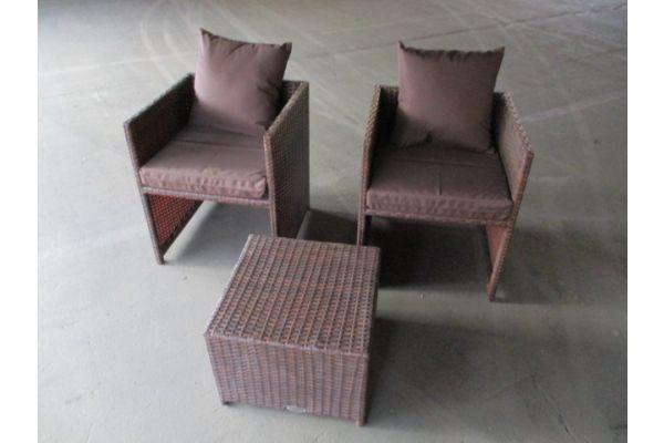 #HBM 1707: 2x Sessel Tahiti + Tisch Tahiti
