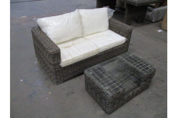 #HBM1743: 2er Sofa Madeira mit Tisch Moss 5mm-grau-meliert