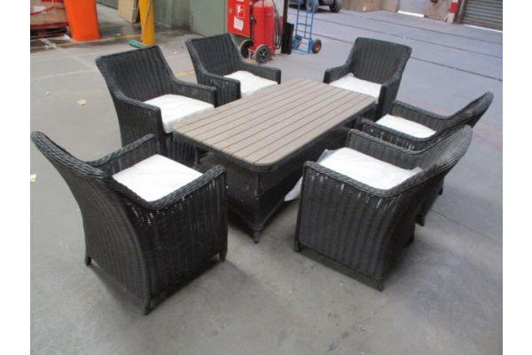 #HBM 1762: 6x Stuhl Sandnes + Tisch Pandora WPC 160x180
