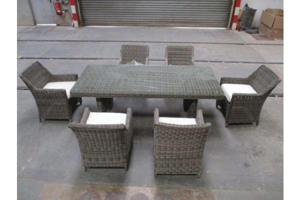 #HBM 1766: 6x Stuhl + Tisch Sandnes 240