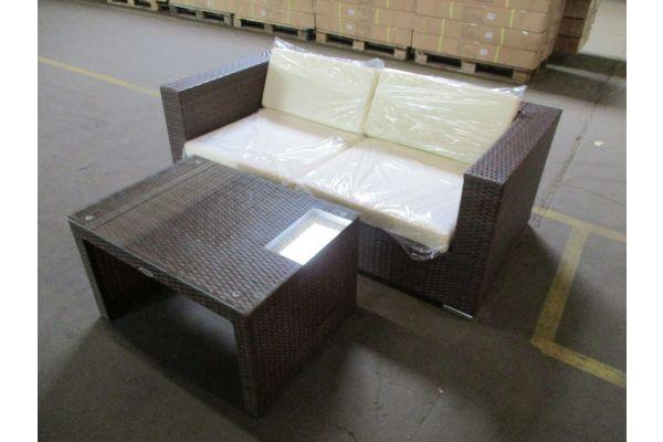 #HBM 1783: 2er Sofa bestehend aus 2 Eckelementen 3-1-1 mit Tisch Casablanca-braun-meliert-cremeweiß