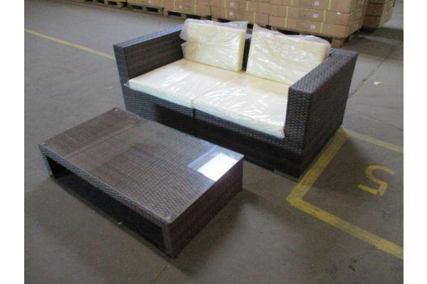 #HBM 1785: 2er Sofa bestehend aus 2 Eckelementen 3-1-1 mit Tisch Casablanca-braun-meliert-cremeweiß
