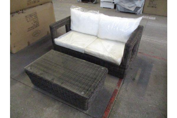 #HBM 1803: 2er Sofa Honolulu + Tisch Mandal -grau-meliert