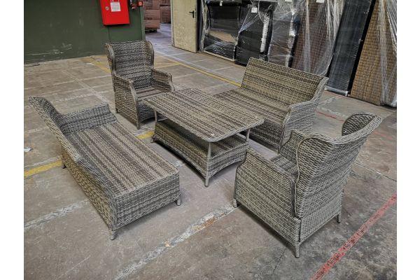 #HBM 1042: 2x Sessel Breno + 2x Seitenelement + Tisch Pandora
