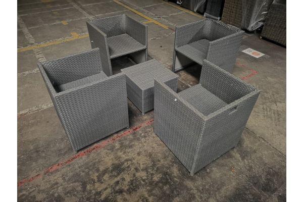 #HBM 1054: 4x Sessel + Tisch Maui-grau