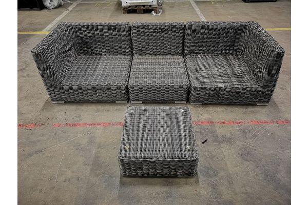 #G 1095: 2x Eckelement Terra + 1x Mittelelement Ariano mit Tisch Terra 5mm