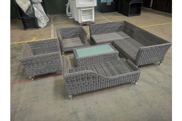 #HBM 1102: Garnitur bestehend aus 2x Sessel + 2x Eckelement + 1x Recamiere + 1x Tisch Moss 5mm