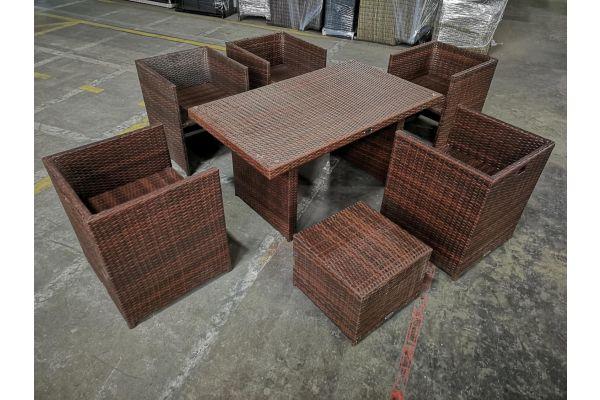 #HBM 1146: 5x Sessel + Hocker Maui + Tisch Fisolo