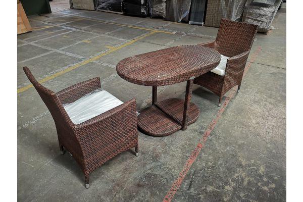 #HBM 1136: 2x Stuhl Avignon + Tisch Bayamo-braun-meliert
