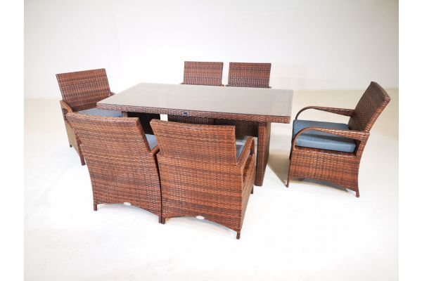 M#: Sitzgruppe bestehend aus 6er Set Stuhl Pizzo mit Tisch Avignon-braun-meliert-eisengrau