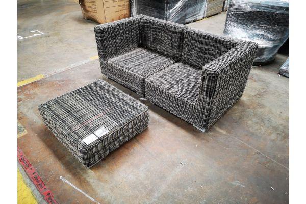 #G 1199: Sofa bestehend aus 2 Eckelementen mit Tisch Pamplona 5mm-grau-meliert