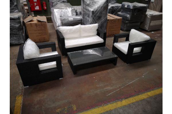 #HBM 1224: Sitzgruppe bestehend aus 2 Sesseln und 2er Sofa Honolulu mit Tisch Casablanca schwarz-schwarz