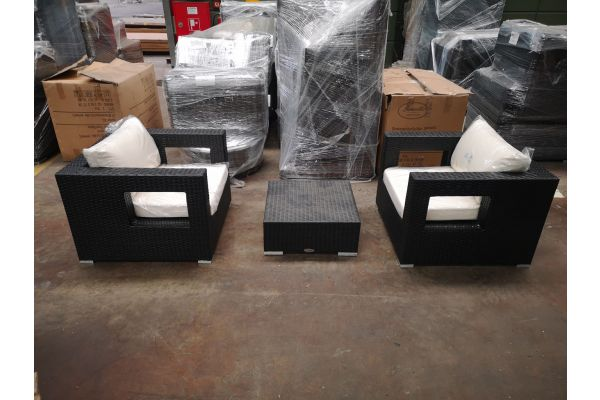 #HBM 1226: 2er Set Sessel Honolulu mit Hocker Provence schwarz-schwarz