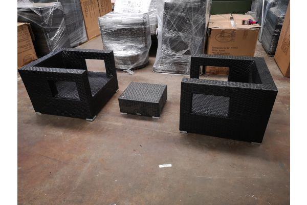 #G 1237: 2er Set Sessel Honolulu mit Tisch Nadi schwarz-schwarz