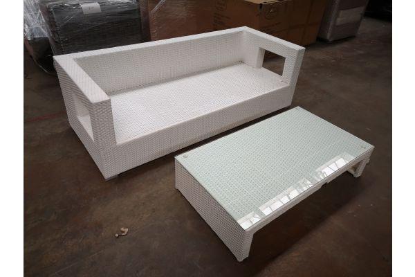 #G 1245: 3er Sofa Honolulu mit Tisch Casablanca-weiß