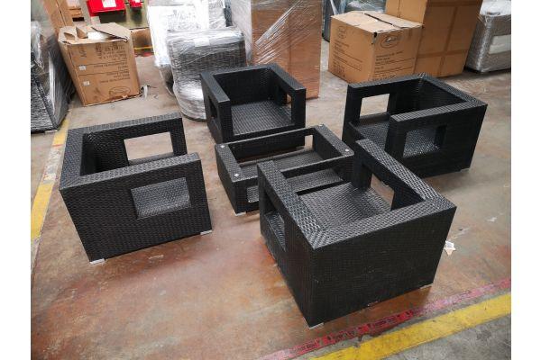 #G 1249: 4er Set Sessel mit Tisch Honolulu-schwarz