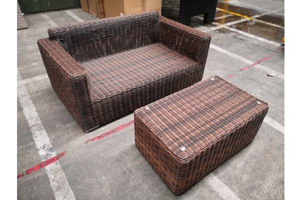 #G 1266: 2er Sofa Madeira mit Tisch Bergen 5mm
