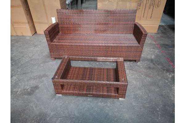 #G 1285: 3er Sofa Fisolo mit Tisch Honolulu