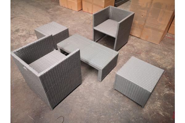 #HBM 1297: 2er Set Stuhl Maui mit Hocker und Tisch Casablanca-grau