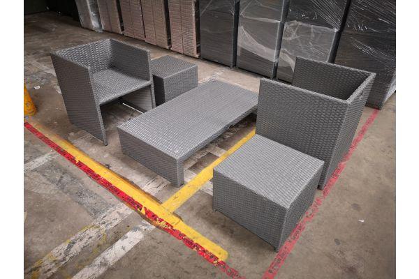#HBM 1306: 2er Set Stuhl mit Hocker Tahiti und Tisch Casablanca
