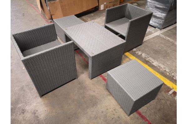 #HBM 1309: 2er Set Stuhl mit Hocker Tahiti und Tisch Casablanca