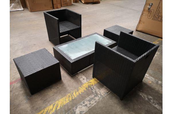 #G 1312: 2x Stuhl + 2x Hocker Tahiti + Tisch Provence schwarz