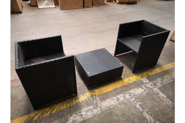 #G 1315: 2x Sessel Tahiti + Tisch Terra schwarz