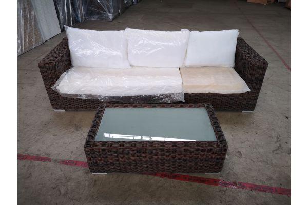 #HBM 1402: 3er Sofa bestehend aus langem und kurzen Seitenelement Ariano mit Tisch Madeira 5mm