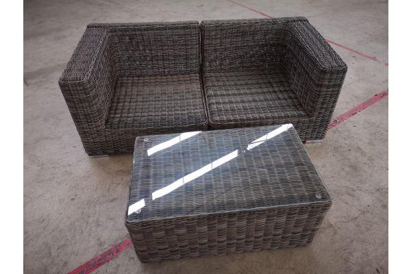 #G 1404: 2er Sofa bestehend aus 2 Seitenelementen Ariano mit Tisch Bergen 5mm