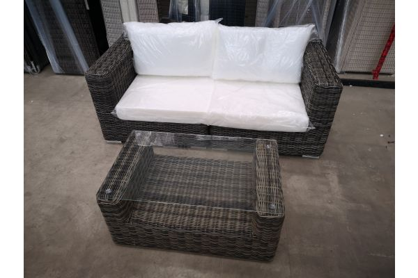 #HBM 1411: 2er Sofa Ariano mit Tisch Moss 5mm-grau-meliert