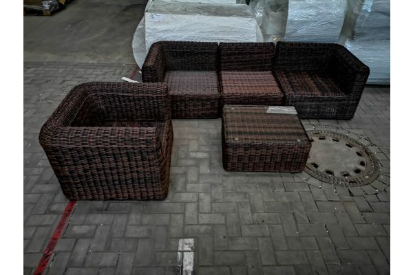 #HBM 1422: 3er Sofa mit Sessel und Tisch Marbella 5mm-braun-meliert