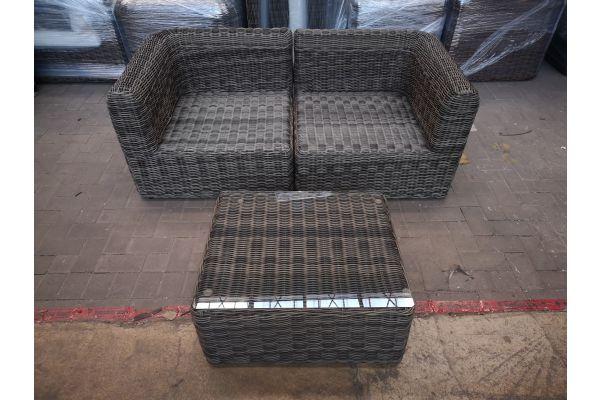 #HBM 1438: 2er Sofa mit Tisch Marbella 5mm-grau-meliert