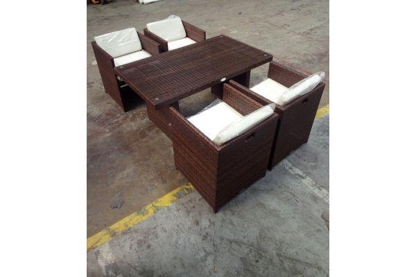 #HBM 1501: 4er Set Stuhl Tahiti mit Tisch Fisolo